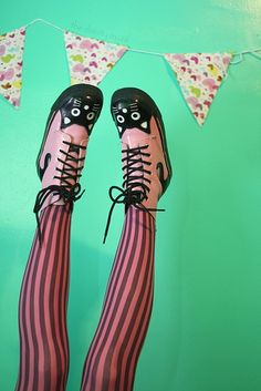 Pink  and Black Kitty Boots