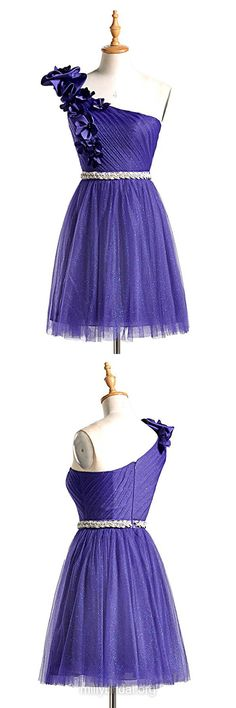 Pretty Purple Prom Dresses,A-line One Shoulder Prom Dresses,Tulle Short/Mini Cocktail Dress,Sashes / Ribbons Formal Party Gowns