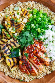 Grilled bbq chicken, zucchini & corn quinoa salad