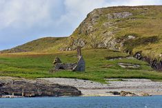 Chapel with a chimney on Nave Island off the Isle of Islay One of the closest views you can get of the chapel with a chimney on Nave Island from Islay, taken with a strong telephoto lens from Ardna… Isle Of Islay, Abandoned, Scotland, Golf Courses, Cheer, Scenery, Island, Mountains, Pictures