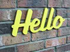 Hello Wood Sign Wall Decor Signage Painted by DimeStoreVintage, $24.99