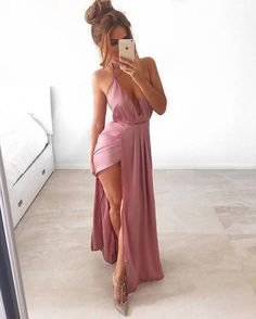 Prom Dresses,Chiffon Prom Dress, Long Evening Dress ,Romantic Pink Chiffon Long Prom Dresses,Women Dress