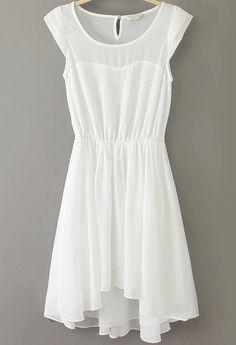 White Sleeveless Pleated Chiffon Tank Dress US$28.00