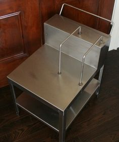 this Industrial Stainless Steel End Table would go great with my living room scheme! Stainless Steel Furniture, My Living Room, End Tables, Industrial, Home Decor, Mesas, Decoration Home, Room Decor, Industrial Music
