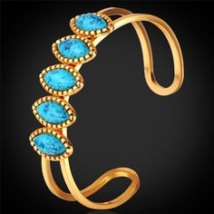 Bracelets For Women Trendy 2015 18K Real Gold/Platinum Plated Turquoise Cuff Bracelets Bangles Turkish Jewelry Wholesale