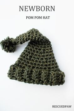 Crochet Newborn Pom Pom Hat. Great as a Photo Prop!!
