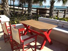 Synthetic wood tabletop...perfect for the outdoor setting to last through sun and fun. #resortlife #hospitality #madeinusa #syntheticwood Wood Furniture, Outdoor Furniture Sets, Outdoor Decor, Outdoor Settings, Hospitality, Tabletop, Sun, Pictures, Home Decor