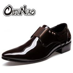 27.89$ Buy here - Fashion Glossy Patent Leather Men Shoes Party Flats British Pointed Toe Slip On Men Dress Shoes Metal Elastic Band Wedding Shoes #buyonline
