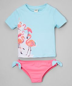 Another great find on #zulily! Turquoise & Pink Flamingo Rashguard Set - Infant, Toddler & Girls #zulilyfinds