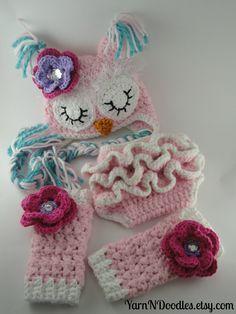Sleepy Owl Hat Ruffle Diaper Cover Leg Warmers Newborn/Infant Girl Photography Prop Halloween Costume Shower Gift. $72.99, via Etsy.