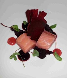 Loch Duart salmon, baked beetroot and Yorkshire rhubarb
