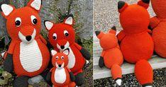 Hækl én, to eller tre søde ræve! For dig der er øvet. Chrochet, Knit Crochet, Alter, Dinosaur Stuffed Animal, Crochet Patterns, Knitting, Disney, Toys, Animals