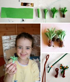 paper and pipecleaner trees children's craft project
