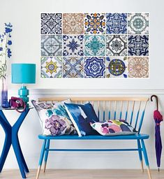 Hydraulic Tiles Stickers (Pack with Tile Decals - Tradicional Tiles for Kitchen Backsplash or Bathroom by Moon WallStickers at BOUF Moroccan Interiors, Moroccan Decor, Moroccan Tiles, Home Interior, Interior And Exterior, Interior Design, Tile Decals, Wall Tiles, Decoration Inspiration