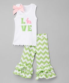 Look at this #zulilyfind! White 'Love' Tank & Pistachio Pants - Infant, Toddler & Girls by So Girly & Twirly #zulilyfinds