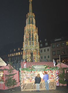 Christkindlmarkt, Nuremberg, Germany.  At the famous Gothic fountain.  Pinned by www.mygrowingtraditions.com