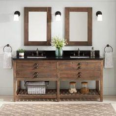 "Signature Hardware 436616 Antique Pine / Dark Santa Cecilia Granite Benoist 72"" Double Vanity Set with Reclaimed Pine Cabinet, Marble or Granite Vanity Top & Rectangular Undermount Sinks - 8"" Faucet Holes"