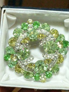Vintage Beautiful Signed Eisenberg Rhinestone Brooch Tremendous Sparkle! #Eisenberg