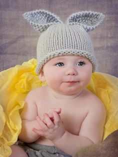 Premature preemie baby hat Easter bunny rabbit  by TheYarnOwlsNest