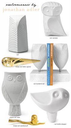 Owl Ceramics by Jonathan Adler  Decor idea for use with WHOOT warmer https://ericahammond.scentsy.us/Scentsy/Buy/ProductDetails/DSW-WHOO https://ericahammond.scentsy.us/Scentsy/Buy/ProductDetails/23211