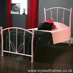 Pink or white princess-style metal bed frame with extra underneath single guest bed. Features rounded ball finials and hardwood laminated sprung slats. Leather Bed Frame, Glossier Pink, Types Of Beds, Childrens Beds, Guest Bed, Princess Style, Metal Beds, My Dream Home, Kids Room
