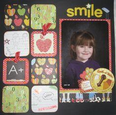 School Scrapbook Layouts, Scrapbook Layout Sketches, Kids Scrapbook, Scrapbook Albums, Scrapbooking Layouts, School Portraits, School Photos, School Memories, School Days