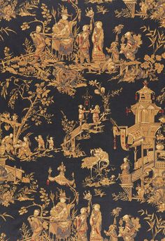 Schumacher Chinois Fabric (Set of Color: Charcoal Chinoiserie Wallpaper, Chinoiserie Chic, Fabric Wallpaper, Wallpaper Layers, Chinoiserie Fabric, Chinese Fabric, Chinese Art, Asian Fabric, Tela China