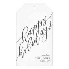 Happy Holidays Calligraphy Gift Tag - craft supplies diy custom design supply special