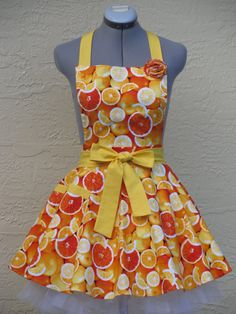 Only One Colorful Bright Oranges Apron With a by ApronsByVittoria, $36.00