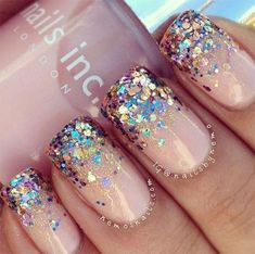 Nails french manicure glitter sparkle ideas for 2019 New Year's Nails, Pink Nails, Gel Nails, Nail Polish, Beige Nails, New Years Nail Art, New Years Eve Nails, New Years Eve Makeup, Glitter French Manicure