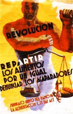 Affiche, 1936, CNT FAI AIT Alimentation, Répartition égalitaire de l'alimentation