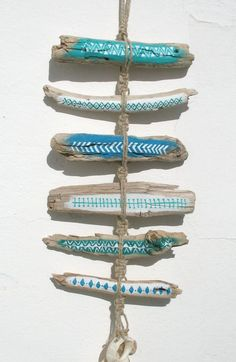 Painted Driftwood Tribal Patterned Wall Hanging Mobile In Blues With Rustic Bleached Shell Pieces, Rustic Boho Beach Totem Style Beach Art: