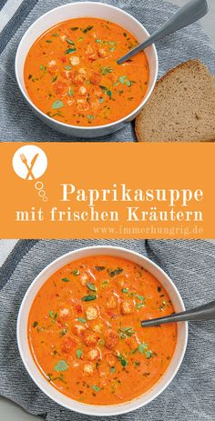 Paprika soup with herbs always hungry - Rezepte - Suppe / Recipes -Soup - # Healthy Soup Recipes, Pasta Recipes, Vegetarian Recipes, Chicken Recipes, Cooking Recipes, Drink Recipes, Healthy Foods, Stuffed Pepper Soup, Stuffed Sweet Peppers