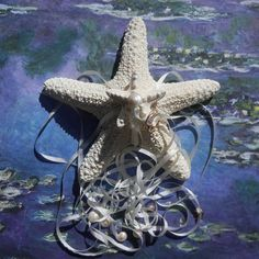 Silk and Stars  Starfish Ring Pillow by ShellScapes on Etsy