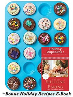 CHEFS KITCHEN Silicone 24 Mini Muffin Pans Premium BPA Free NonStick Bakeware Mold Cakes Cupcakes Heat Resist 450F Oven Microwave Freezer Dishwasher Safe BONUS EBook Recipes Bundle Blue *** Continue to the product at the image link.Note:It is affiliate link to Amazon.