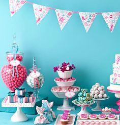 decoração turquesa e rosa