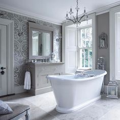 These sliding sash windows have working shutters which are perfect in a bathroom! | #bathroom #vanityunit #bath #window #slidingsashwindow #mirror #shutters #interiors #interiordesign #architecture #luxe #luxury #luxurylife #luxuryhomes #hayburn #hayburnco