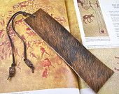 Bookmark Leather - Oversized Black & Brown Brindle Cowhide - Painted Wooden Beads - Tan and Taupe Hemp. $19.99, via Etsy.