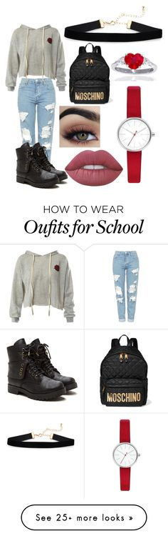 """""""School Day 1"""" by maddygirlclark on Polyvore featuring Topshop, Sans Souci, Lime Crime, Skagen and Moschino"""