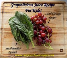 A delicious (Grapealicious even!) Juice Recipe For Kids! Spinach is one of the best choices as a beginning green juice for children because it has a milder flavor compared to many other greens. Grapes make a sweet juice that easily masks even the stronger green flavored juices. Besides, who doesn't love grape juice? Add in all of the nutrition included in these two ingredients and viola, you've got a winner here!  #juicing #juicerecipes #juicingrecipes #kidsnutrition