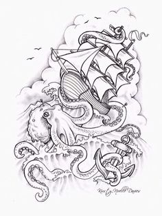 Drawing of a Ship on the waves & octopus art