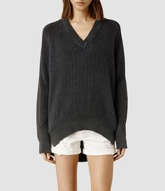 Womens Quinta V-neck Sweater (Acid Black) - product_image_alt_text_1
