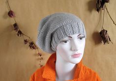 Women Men knit slouchy  beanie hat  Slouch Beanie by recyclingroom