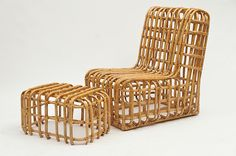 Large Bamboo Chair and Ottoman French, 1970s