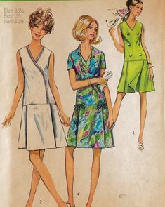 half size pattern no collar slit neck and trim in front easy to sew dress Dress in two lengths 16 12 Retro Simplicity 5475