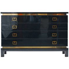 1970s Lacquered and Brass Commode Attributed to Maison Jansen | From a unique collection of antique and modern commodes and chests of drawers at https://www.1stdibs.com/furniture/storage-case-pieces/commodes-chests-of-drawers/
