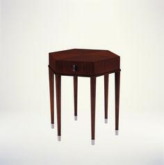 53007 // Rosenau Hexagon Side Table Swirl Mahogany Veneer Polished Stainless Steel Pull & Accents