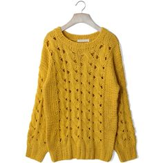 Classic Cable Knit Cut Out Jumper in Mustard ($50) ❤ liked on Polyvore featuring tops, sweaters, jumpers, shirts, mustard shirt, chunky cable knit sweater, cut out sweater, cutout shirt and yellow long sleeve shirt
