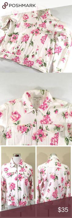 "Jones New York Floral Biker Jacket (S) 🔹100% Cotton 🔹2 Front pockets 🔹Chest: 41"" (20"" laid flat) 🔹Waist: 38"" (19"" laid flat) 🔹Length: 20"" 🔹Sleeve length: 22.5"" Jackets & Coats"