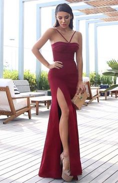 Burgundy Mermaid Prom Dress with Split Slit, Shop plus-sized prom dresses for curvy figures and plus-size party dresses. Ball gowns for prom in plus sizes and short plus-sized prom dresses for Popular Dresses, Dresses Uk, Sexy Dresses, Mermaid Evening Dresses, Slit Dress, Party Dress, Dress Prom, Color Box, Evening Party